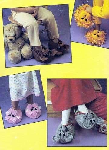 PDF Digital Download Vintage Crochet Pattern Child Boy Girl 8 Animal Slipper Slippers Boots