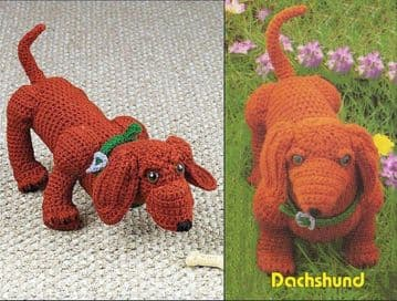 PDF Digital Download ​​​​​​​Vintage Crochet Pattern Dachshund Sausage Dog