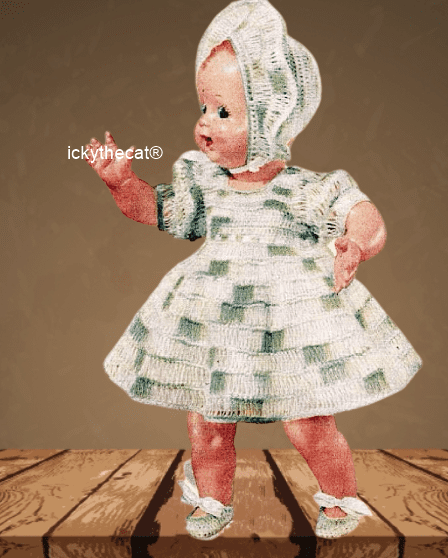 PDF Digital Download Vintage Crochet Pattern Doll Clothes Dress Bonnet Shoes 15'' Baby Dolls