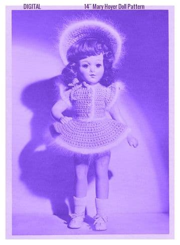 PDF Digital Download Vintage Crochet Pattern Doll Clothes Party Dress 14'' Mary Hoyer Dolls Toy Toys