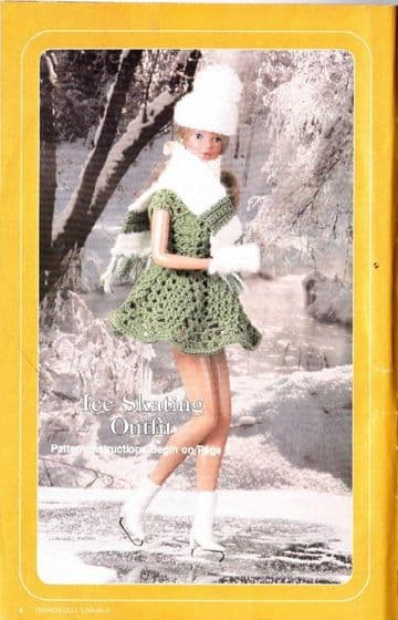 PDF Digital Download Vintage Crochet Pattern Doll Clothes Skate Outfit Teenage Fashion Dolls Barbie