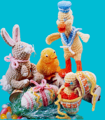 PDF Digital Download Vintage Crochet Pattern Easter Chick Duck Bunny Stuffed Soft Plush Toys
