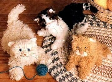 PDF Digital Download Vintage Crochet Pattern Kitten Cat Kittens Cats Stuffed Soft Plush Animal Toy
