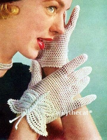 PDF Digital Download Vintage Crochet Pattern Ladies Women's Butterfly Gloves S/M/L & Hat