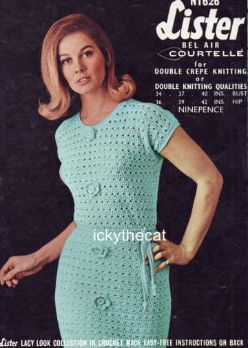 PDF Digital Download Vintage Crochet Pattern Ladies Womens Dress 34-42'' ​​​​​​​DK / 8 ply
