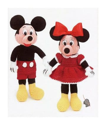 PDF Digital Download Vintage Crochet Pattern  Mickey & Minnie Mouse  Stuffed Plush Soft Body Toys