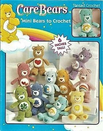 PDF DIGITAL DOWNLOAD VINTAGE CROCHET PATTERN MINI CARE BEARS SOFT TOYS 6'' TALL