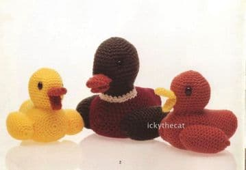 PDF Digital Download Vintage Crochet Pattern Mother Baby Duck Duckling Stuffed Soft Toy Bird Toys