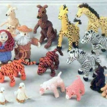 PDF DIGITAL DOWNLOAD Vintage Crochet Pattern  ​​​​​​​Noahs Ark Animals Stuffed Soft Toy Doll Animal