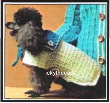 PDF Digital Download Vintage Crochet Pattern Poodle Nautical Dog Coat Rug Yarn