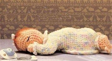 PDF Digital Download Vintage Crochet Pattern Sleeping Baby Doll 10'' Stuffed Soft Toy Toys Dolls