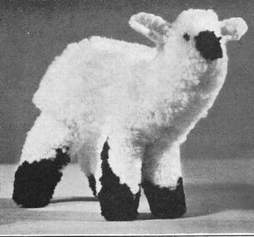 PDF Digital Download Vintage Crochet Pattern Stuffed Plush Soft Body Toy 14'' Lamb Sheep Animal