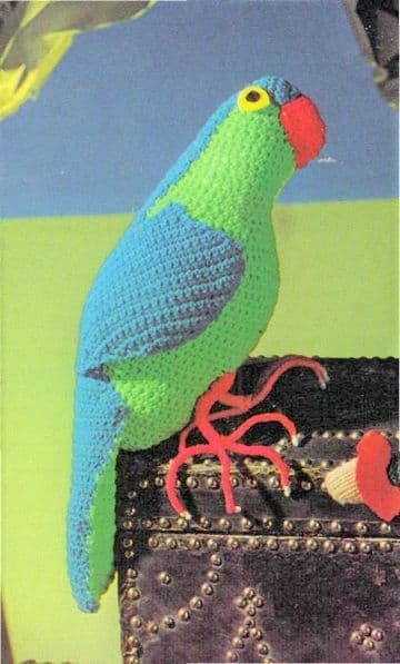 PDF Digital Download Vintage Crochet Pattern Stuffed Plush Soft Body Toy Parrot Bird Toys