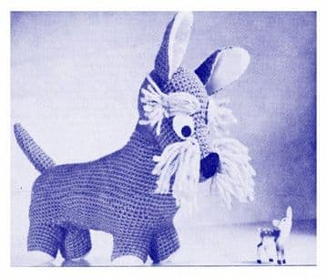 PDF Digital Download Vintage Crochet Pattern Stuffed Plush Soft Body Toy Scottie Dog Puppy Animal