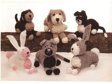 PDF Digital Download Vintage Crochet Pattern Stuffed Soft Toy Animals Mother Baby Cat Dog Rabbit