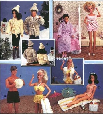 PDF Digital Download Vintage Crochet Pattern Teenage  Fashion Doll Pattern Book 16 pages of patterns