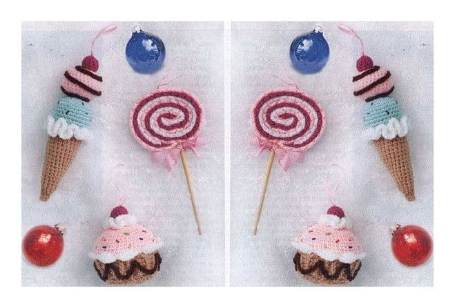 PDF Digital Download Vintage Crochet Pattern to make Sweets Ice Cream Cakes Toys