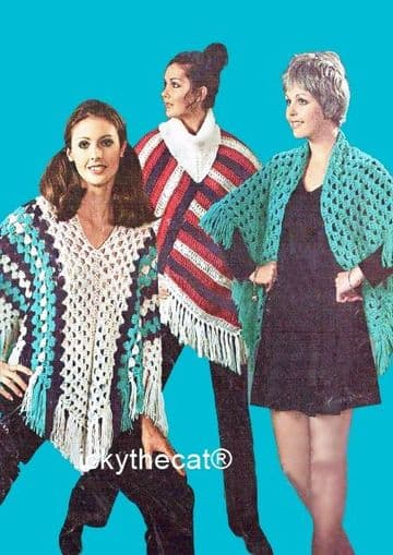 PDF Digital Download Vintage Crochet Pattern Women's Ladies  2 Ponchos and 1 Shawl