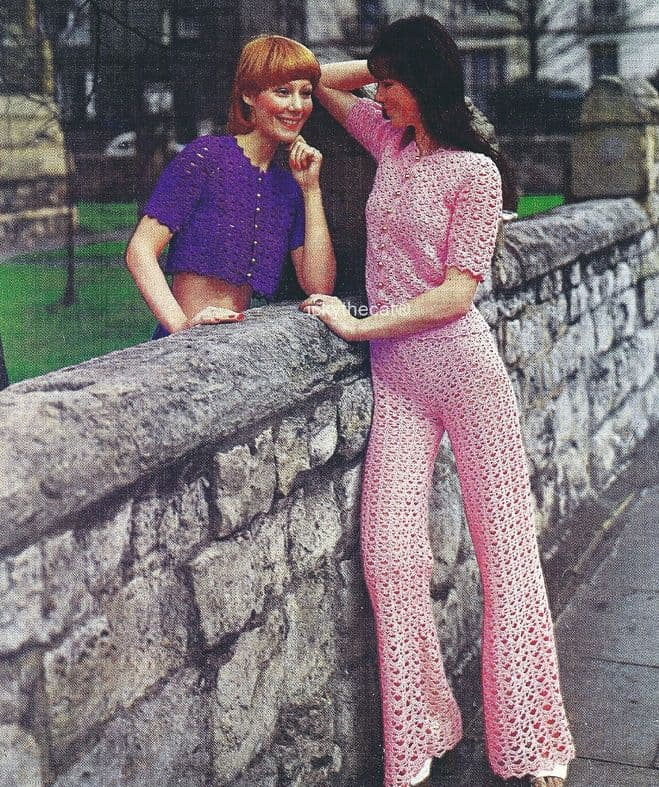 PDF Digital Download Vintage Crochet Pattern Women's Ladies 2 Trouser Suits  32-38 inch DK Yarn