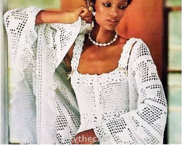 PDF Digital Download Vintage Crochet  Pattern Women's Ladies Camisole/Top 30-36'' & Ruffled Shawl