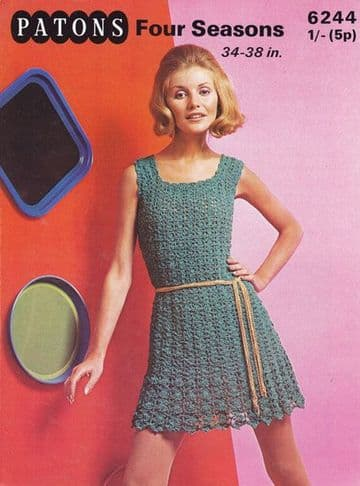PDF Digital Download Vintage Crochet Pattern Women's Ladies Mod Dress 34-36''