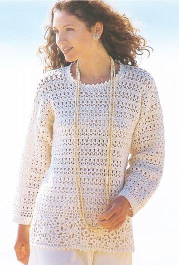 PDF Digital Download Vintage Crochet Pattern Women's Ladies Tunic Sweater Jumper 32-40'' DK / 8 ply