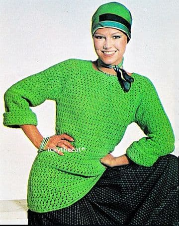 PDF Digital Download Vintage Crochet Pattern Women's Ladies Tunic/Sweater/Jumper