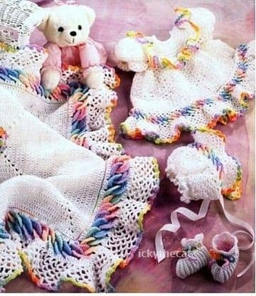PDF Digital Download Vintage Crochet Patterns Baby Layettes Girls set - blanket, bonnet, dress