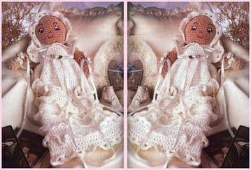 PDF Digital Download Vintage Crochet t Pattern Baby Doll Christening Gown and Bonnet