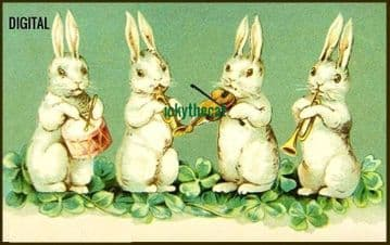 PDF Digital Download Vintage Cross Stitch Sewing Pattern 4 Musical Bunny Rabbits Picture 4.8 x 3''