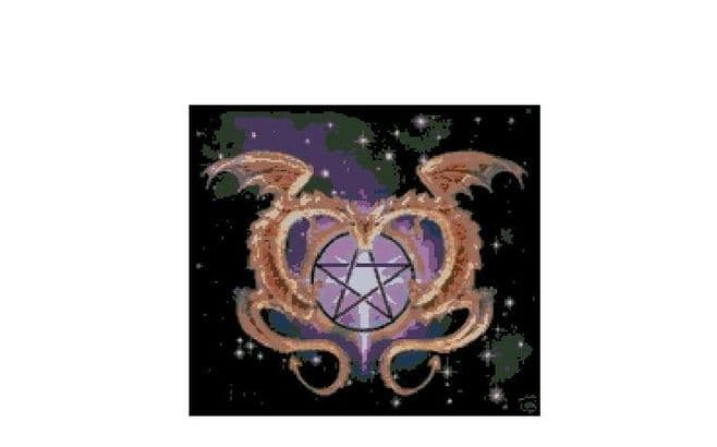 PDF Digital Download Vintage Cross Stitch Sewing Pattern Dragon & Pentagram Picture Wiccan