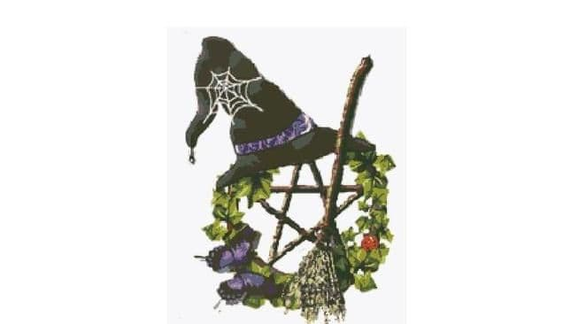 PDF Digital Download Vintage Cross Stitch Sewing Pattern Witch'sHat Besom & Pentagram Picture Wicca