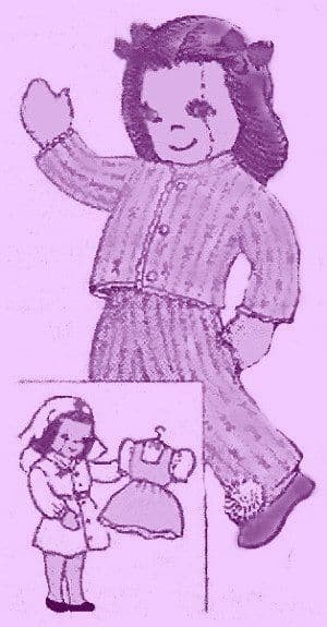PDF Digital Download Vintage FULL SIZE Mail Order Sewing Pattern to make a Soft Body Cloth Nurse Dill with Clothes  9'' Tall