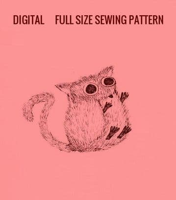 PDF Digital Download Vintage Full Size Sewing Pattern Bush Baby Stuffed Plush Soft Body Toy Animal