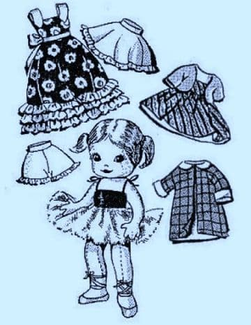 PDF Digital Download Vintage FULL SIZE Sewing Pattern Design 7500 to make a 9 inch Jointed Ballerina Doll with a Wardrobe of Clothes