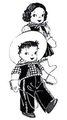 PDF Digital Download Vintage FULL SIZE Sewing Pattern to make 11-12'' Cowboy and Cowgirl Stuffed Plush Soft Body Toys with Clothes