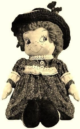 PDF Digital Download Vintage FULL SIZE Sewing Pattern to make a 12 inch Stuffed Soft Body Cloth Doll with Clothes