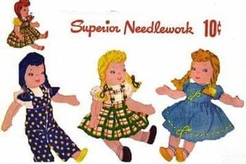 PDF Digital Download Vintage FULL SIZE Sewing Pattern to make a 9'' Soft Body Cloth Doll with 3 Outfits