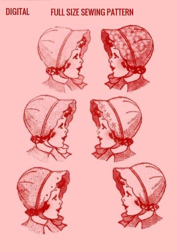 PDF Digital Download Vintage FULL SIZE Sewing pattern to make a Selection of Girl's Baby or Infant Bonnets and Hats in 4 Sizes