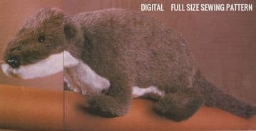 PDF Digital Download Vintage FULL SIZE Sewing Pattern to make a Super Otter A Stuufed Plush Soft Body Toy approx 24''