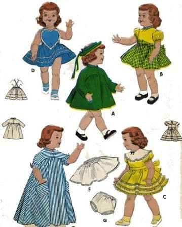 PDF Digital Download Vintage FULL SIZE Sewing Pattern to make a Wardrobe of Clothes for 14'' Baby or Toddler Dolls Butterick 7157