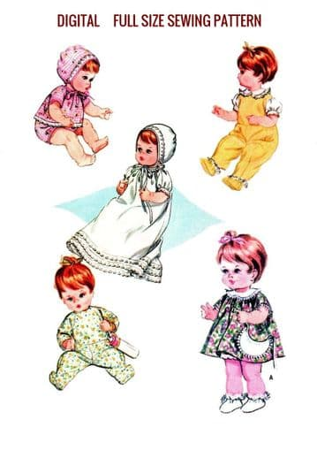 PDF Digital Download Vintage FULL SIZE Sewing Pattern to make a Wardrobe of Clothes for 15 to 18' Baby or Toddler Dolls like Tiny Tears
