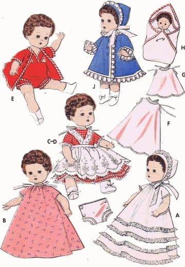 PDF Digital Download Vintage FULL SIZE Sewing Pattern to make a Wardrobe of Clothes for 8'' Dolls Baby Ginger Little Miss Betsy Ginette