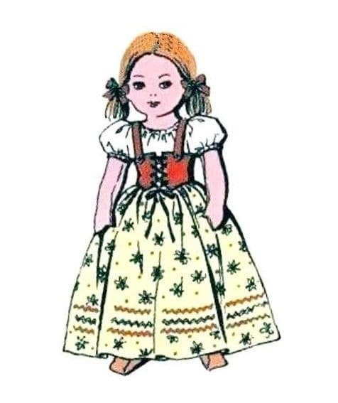 PDF Digital Download Vintage FULL SIZE Sewing Pattern to make an 18'' Little Peasant Girl with Her Clothes A Stuffed Soft Body Cloth Doll