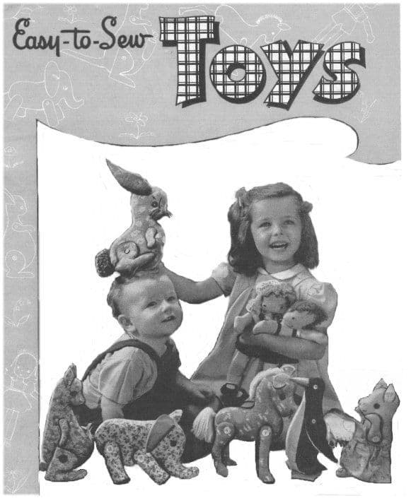 PDF Digital Download Vintage FULL SIZE Sewing Pattern to make Easy To Sew Toys Boy Doll Girl Doll and Animals