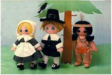 PDF Digital Download​​​​​​​ Vintage FULL SIZE Sewing Pattern to make Little Pilgrim and American Indian Soft Body Cloth Dolls 10''