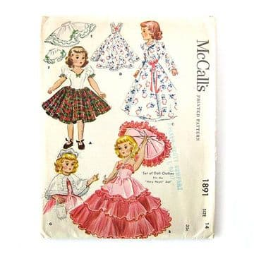 PDF Digital Download Vintage FULL SIZE Sewing Pattern to make McCalls 2891 Dolls Clothes