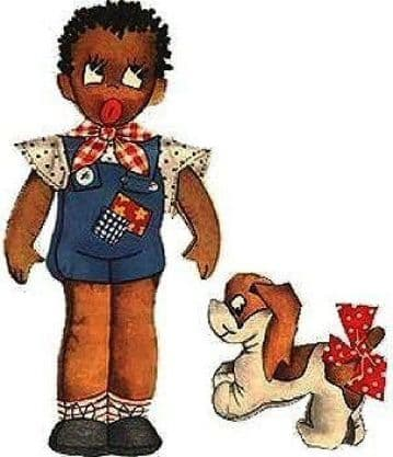 PDF Digital Download Vintage Historical Sewing Pattern African American Doll with Dog Soft Toy
