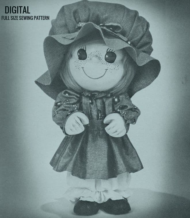 PDF Digital Download Vintage Instructional and Full Size Sewing Pattern to make a Decorative Girl Doll Ornament with Clothes