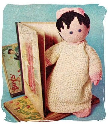 PDF Digital Download Vintage Instructional Sewing with Crochet Pattern to make a Cute Sock Doll with Clothes